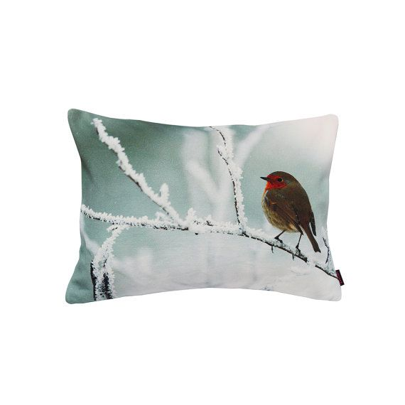 Handmade Designer Snow Robin Cushion by Textiler