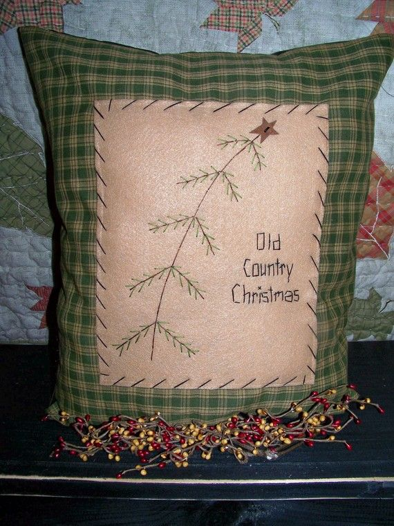 Christmas Pillow or Picture Primitive Stitchery Old by wvluckygirl, $15.49