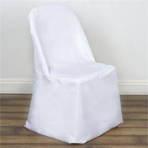 White polyester folding chair covers. Quantity: 65 Approximate measurements: Top to bottom: 33″ Chair back: 20″ wide x 16″ tall Chair seat: 17″ wide x 12.5″ length Maintenance: Wash in warm water Dry on low temperature Use non-chlorine bleach