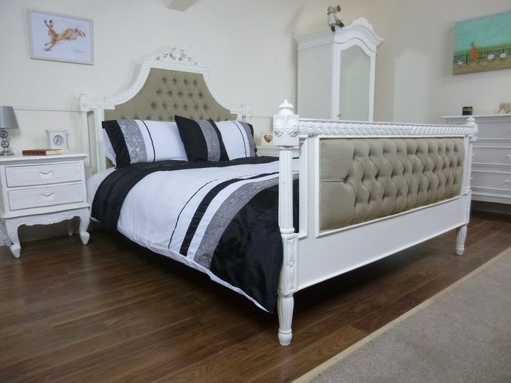 French Marcailles Upholstered King Size Bed Handmade Hand Carved In White Home Furniture Diy Beds Mattresses