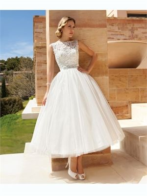White Ball Gown Ankle-Length High Neckline Beading Lace Tulle 2014 Wedding Dresses AWD100038