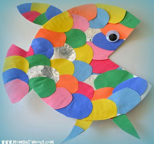 Rainbow fish craft made from a paper plate,
