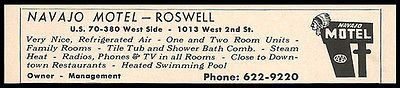 Navajo Motel Ad Roswell New Mexico 1964 Roadside Ad Radios TV Route 70 Travel