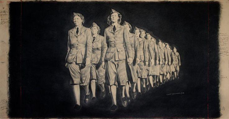 """Camp Columbia"", charcoal on paper, by Jordan Barnes"