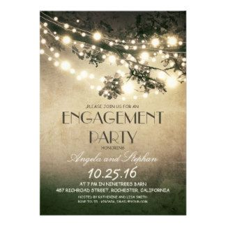 Unique design rustic engagement party invitation featuring tree branches decorated with string of lights. Perfect invite for tree theme outdoor engagement party with twinkle lights accents. Please contact me if you need help with customization, need more products or have a custom color request.  Fully customizable. http://bezazzled.com http://customprintpersonalizedweddingengagementannouncementcards.com #personalizedweddinggifts #personalizedengagement