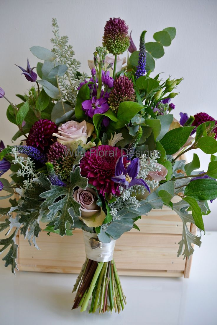 Art Deco brides bouquet, purple, plum, silver. Dahlia, Fifth Avenue Rose.