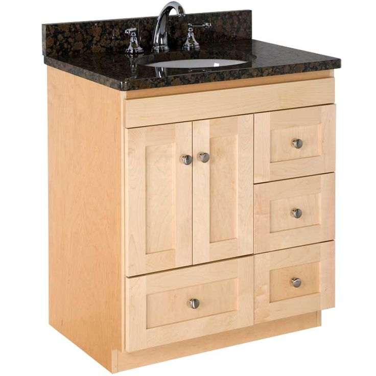 30 wide shaker natural maple vanity with uba tuba granite for 30 wide bathroom vanity