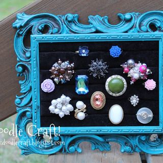 DIY Vintage Frame Ring Display...now this is an idea! I like it