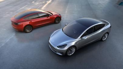 This undated photo provided by Tesla Motors shows the new Model 3 car. At a starting price of $35,000 — before federal and state government incentives — the Model 3 is less than half the cost of Tesla's previous models.
