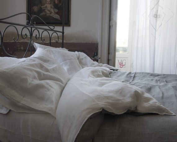 Double-side Linen Duvet cover- White/Flax Linen Duvet Cover made from 100% flax linen - Linen bedding- Bedroom lining- Handmade Duvet Cover  Our pure linen duvet cover gives an alluring look to your bed. When it comes to bedding, one thing that matters is comfort. This pure linen duvet cover makes you feel like home!  ABOUT LINEN  Linen is a nice, elegant, long lasting and steady natural material. Linen is useful for skin, because it allows skin to breath, it cools in summer and warms u...