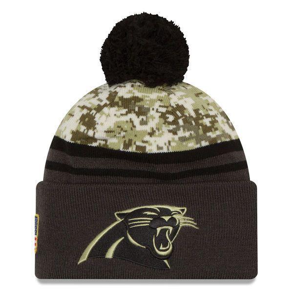 2016 NFL New Era Carolina Panthers Camo/Graphite Salute To Service Knit hat #NewEra #CarolinaPanthers