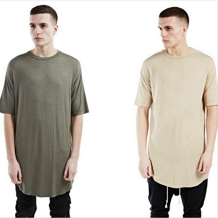 Nuevos hombres inconformista calle desgaste kanye west ropa kpop justin bieber ropas hombres camiseta llanura de gran tamaño dobladillo curvado alargado tee en Camisetas de Ropa y Accesorios en AliExpress.com | Alibaba Group