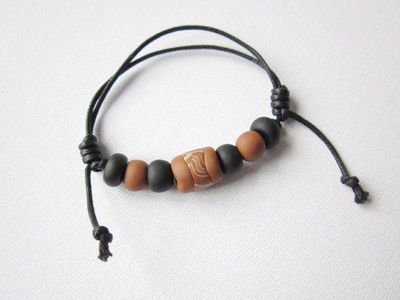 Men's cord bracelet cord and clay bead bracelet for men by Lagneys