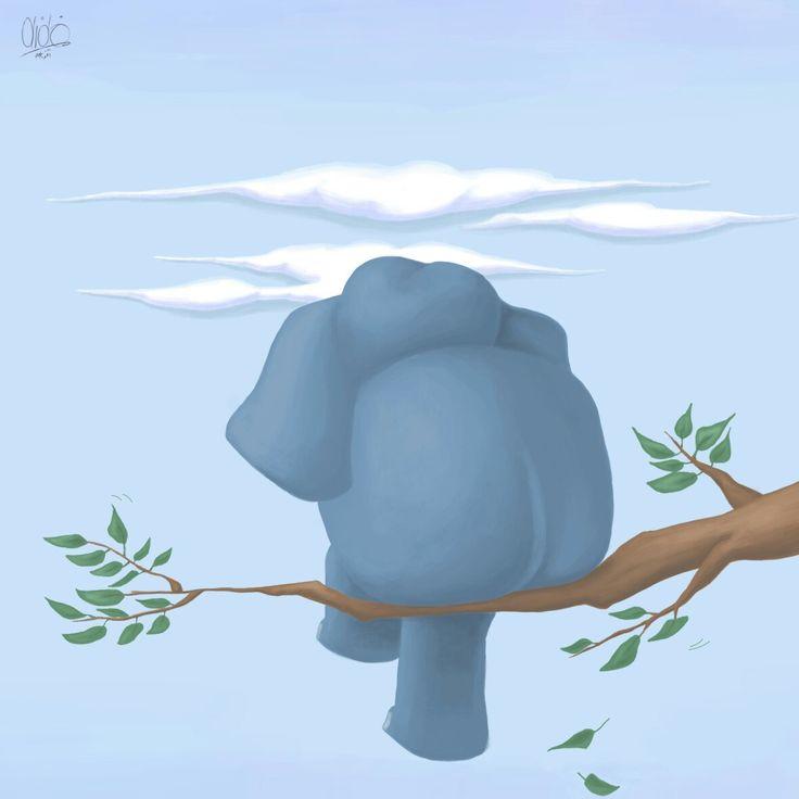 a #thinking #elephant . #illustration #conceptart