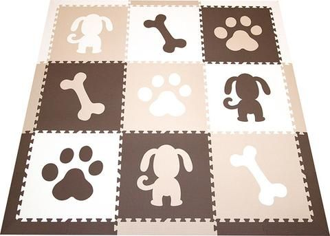SoftTiles Puppy Dog Children's Play Mat Brown, White, Tan Set with Borders