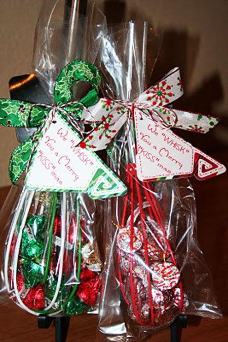 """Hostess Gift Ideas: Here's another fun gift idea that involves chocolate. Fill a Christmas whisk with Hershey's Kisses, wrap it up and tie it with a pretty ribbon. Don't forget to add a cute tag! Quick and simple! Merry """"Kissmas"""" Tutorial"""