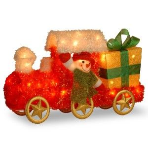 Tinsel Train with Gift and Snowman with Green Scarf with 35 Clear Outdoor UL-Lights