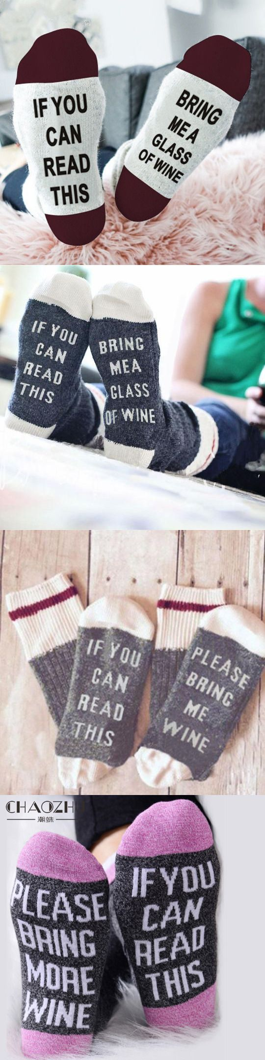 The perfect gift for the wine-lover in your life and they're 50% off right now , If You Can Read This, Bring Me a Glass of Wine Socks