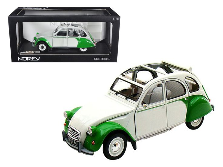 1985 Citroen 2CV Dolly White/Green 1/18 Diecast Model Car by Norev - Brand new 1:18 scale diecast car model of 1985 Citroen 2CV Dolly Green/White die cast car model by Norev. Brand new box. Rubber tires. Has steerable wheels. Made of diecast metal. Detailed interior, exterior. Has opening hood, doors and trunk. Dimensions approximately L-10, W-4.5, H-3.25 inches.-Weight: 4. Height: 8. Width: 15. Box Weight: 4. Box Width: 15. Box Height: 8. Box Depth: 7