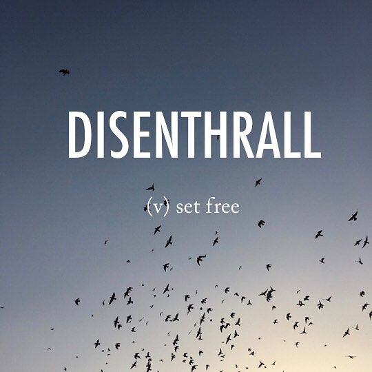 Disenthrall |ˌdisənˈTHrôl| dis-enthrall late Middle English (in the sense 'enslave'; formerly also as inthrall): from en-,in- (as an intensifier) + thrall