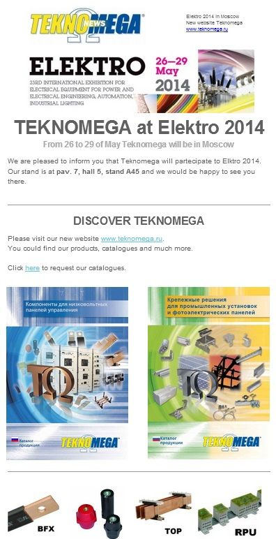 #teknomega #newsletter #russia #elektro2014 #newcatalog