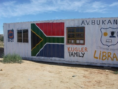 So excited about library we created for A.V. Bukani Elementary in rural South Africa. With lots of volunteer help in US, we collected, categorized, and labeled 23,000 quality donated books. With donated funds, bought 40ft container to ship books. Turned into a library at the school!