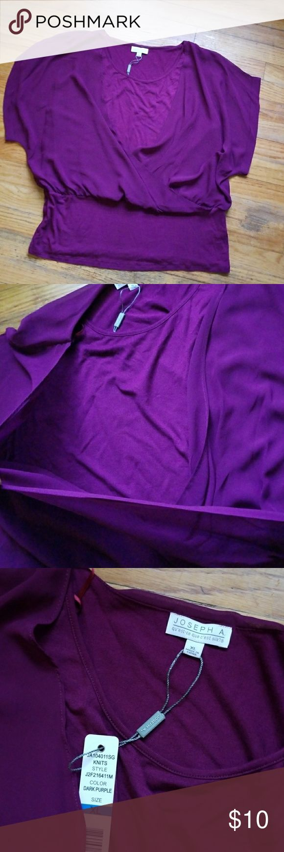 3 FOR $15: Deep Purple Women's Blouse 3 FOR $15: Beautiful deep purple blouse. Faux wrap design with banded waist & dolman style sheer sleeves.  🚫PRICE FIRM IF PURCHASED ALONE🚫 Joseph Tops Blouses
