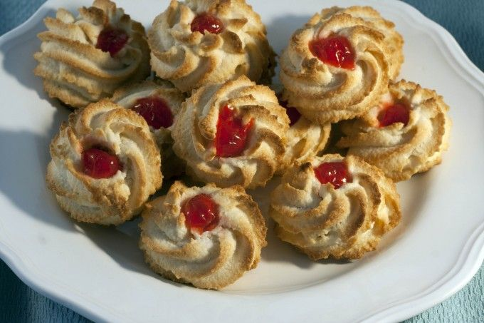 Chewy almond cookies made with Solo Almond Paste and topped with a cherry. A delicious and easy Passover treat!