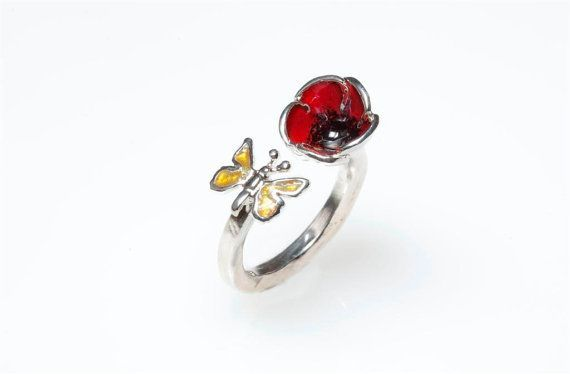 Poppy #Ring,Sterling Silver Ring, Enamel Ring, #RedPoppy,Yellow Butterfly,Botanical Jewelry,Nature Inspired, Floral Ring, Spring, Giampouras 63.30euro
