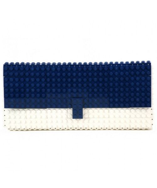 GABAG statement clutch is handcrafted from white and blue LEGO bricks. Style yours with a matching dress, filling it with your smartphone, lipstick and cards.
