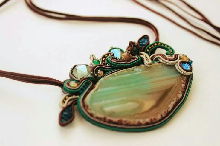 Soutache on sliced agate