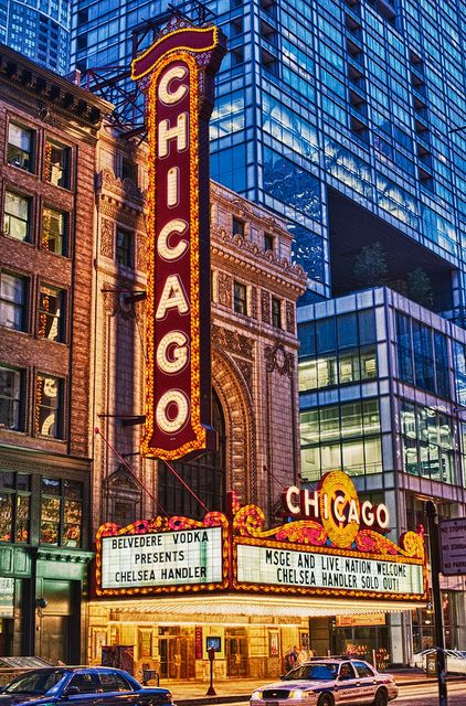Chicago theater sign black and white dress