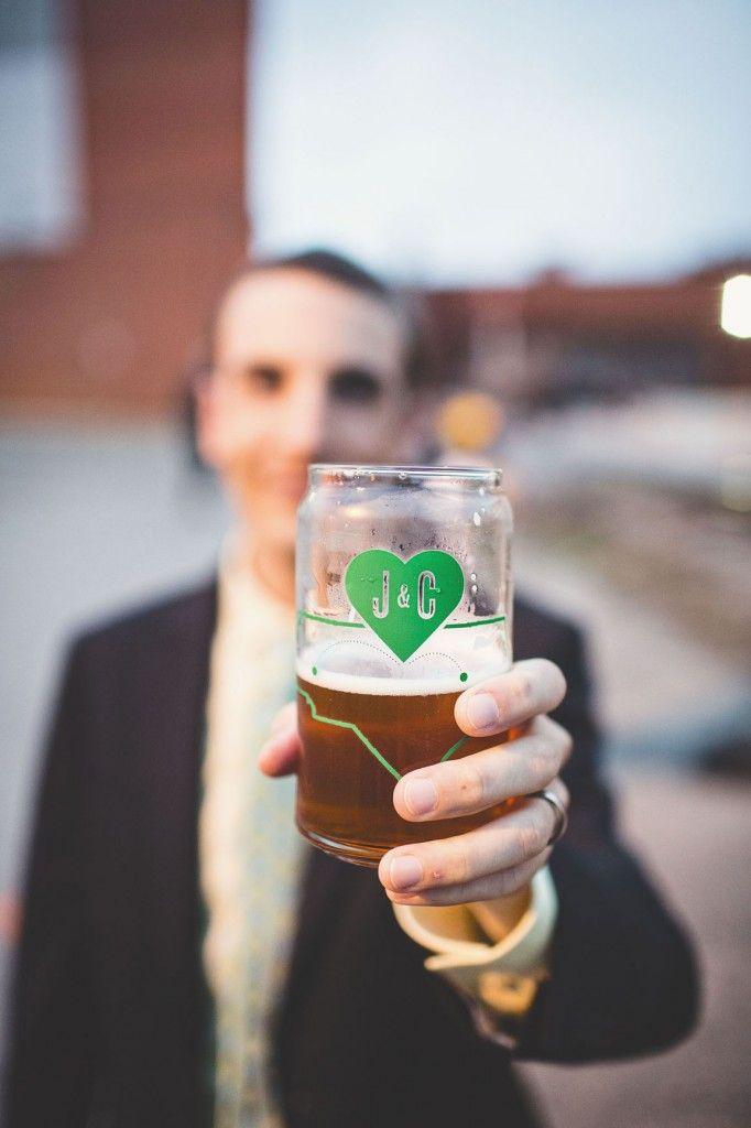 Custom beer can pint glasses as wedding favors!