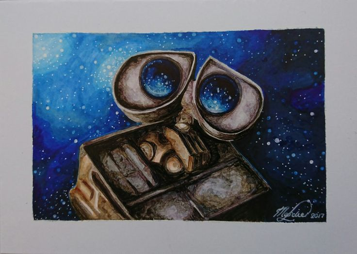 Wall-e the Stargazer. Copic markers on Marker Paper. 11cm x 15cm.  #art #drawing #WallE #disney #copic