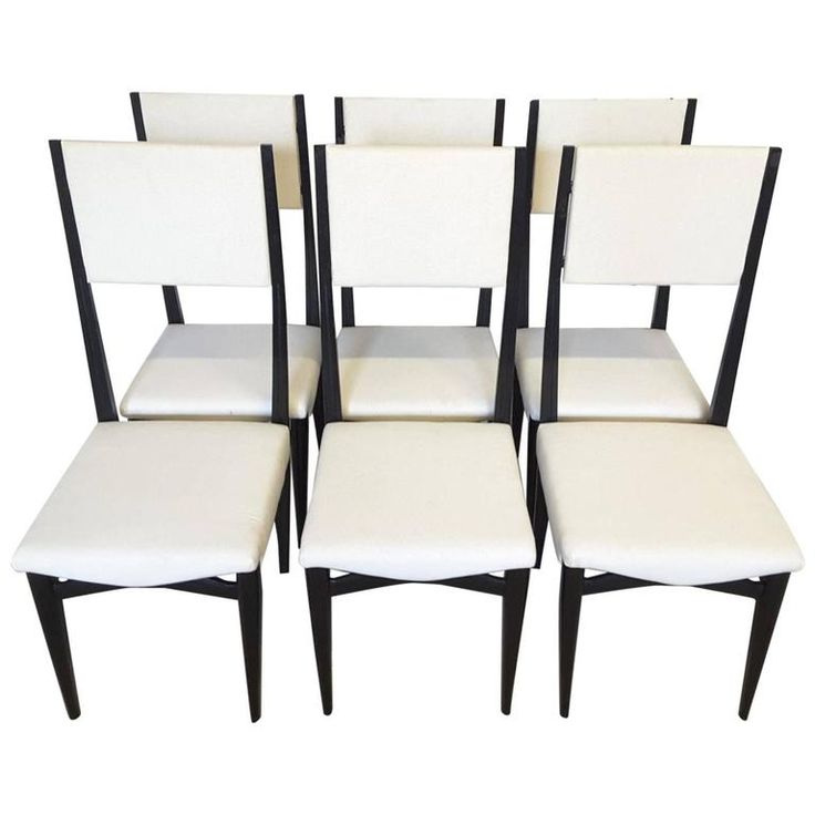 Set of Six Italian Mid-Century Modern High Back Dining Chairs | From a unique collection of antique and modern dining room chairs at https://www.1stdibs.com/furniture/seating/dining-room-chairs/