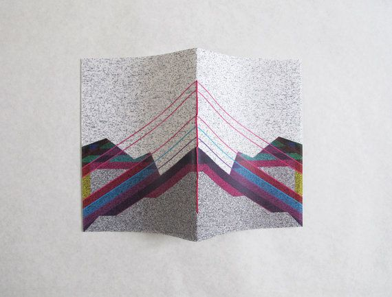 Hand sewn A6 notebook  symmetry by 10antemeridiem on Etsy, $7.00