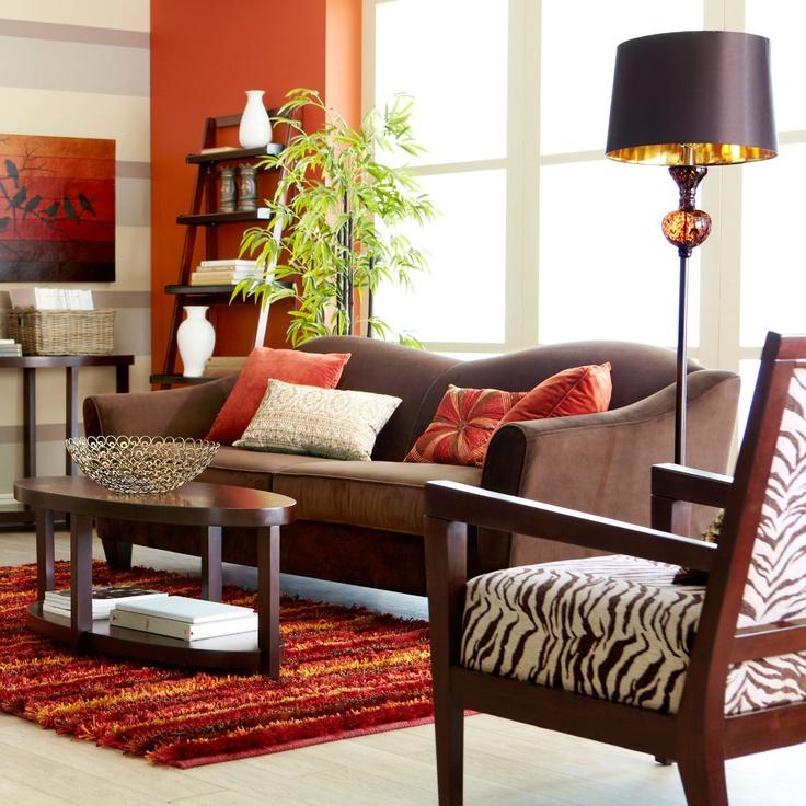 pier 1 living room rugs%0A Pier   living room with the Abbie Sofa in Chocolate and Blayne Armchairs in  Zebra love the zebra chairs