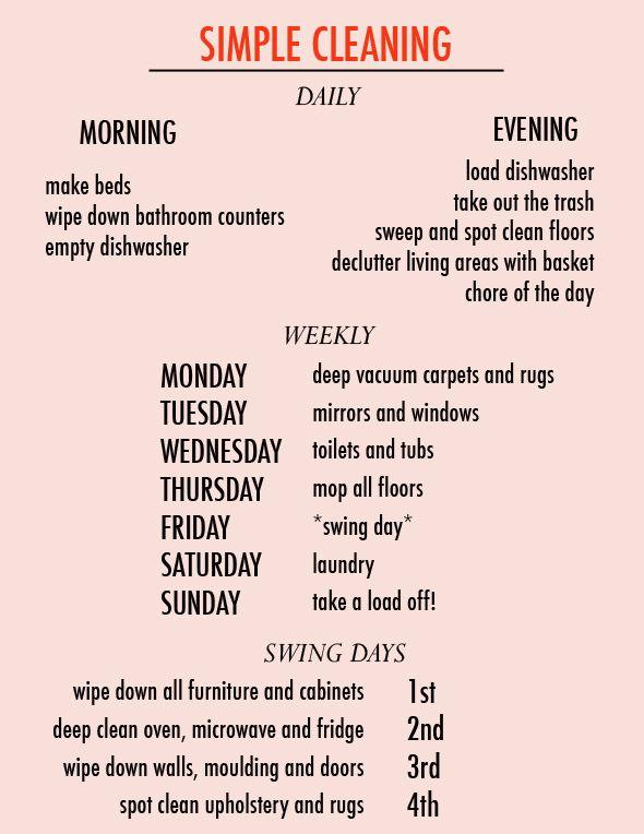 Littlegreennotebook ... Thanks ... Simple cleaning schedule