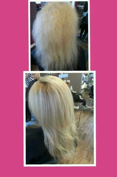 Top before Bottom after. Brazillian Blowout done by Sarah - F/X Salon #brazillianblowout #smoothhair