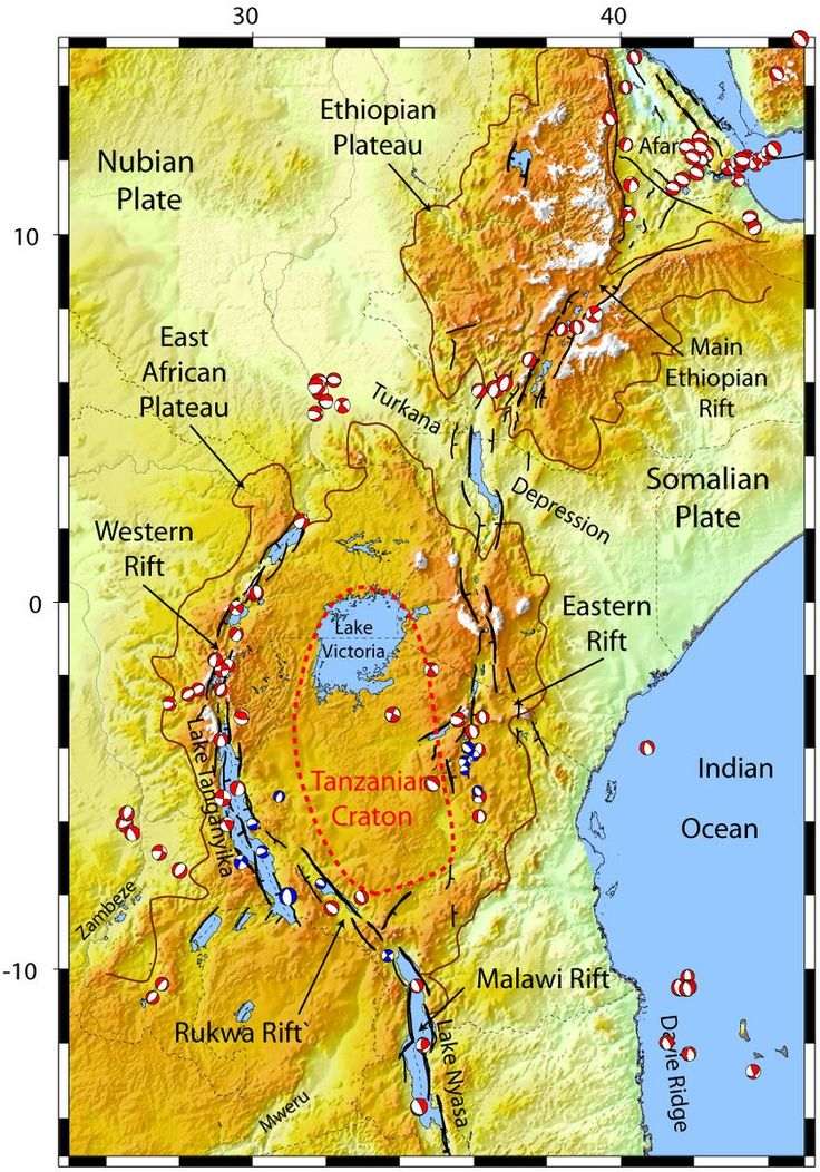 The East African Rift System is a 5,000 km long series of continental rifts and countless normal faults