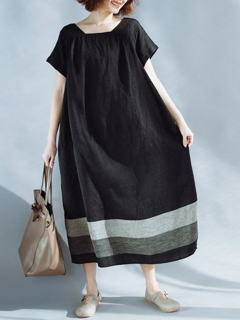 09e95a4c3eb Plus Size Square neck Women Shift Daytime Linen Short Sleeve Dress ...