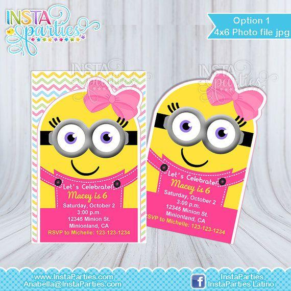Invitaciones de Minion niña minions invitación por InstaParties