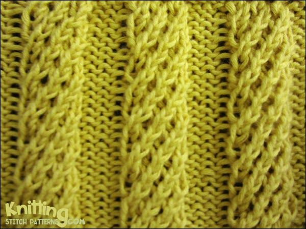 The spiral columns stitch is a unique mock-cable rib and isn't hard knit. This knitting pattern begins with a wrong side row and is knitted in a multiple of 10 sts.