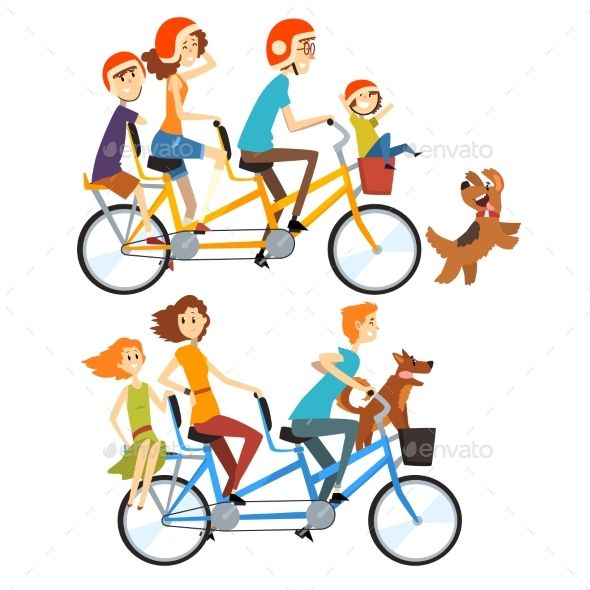 Two Happy Families Riding On Tandem Bicycles Cartoon People Tandem Bicycle Boy Cartoon Characters