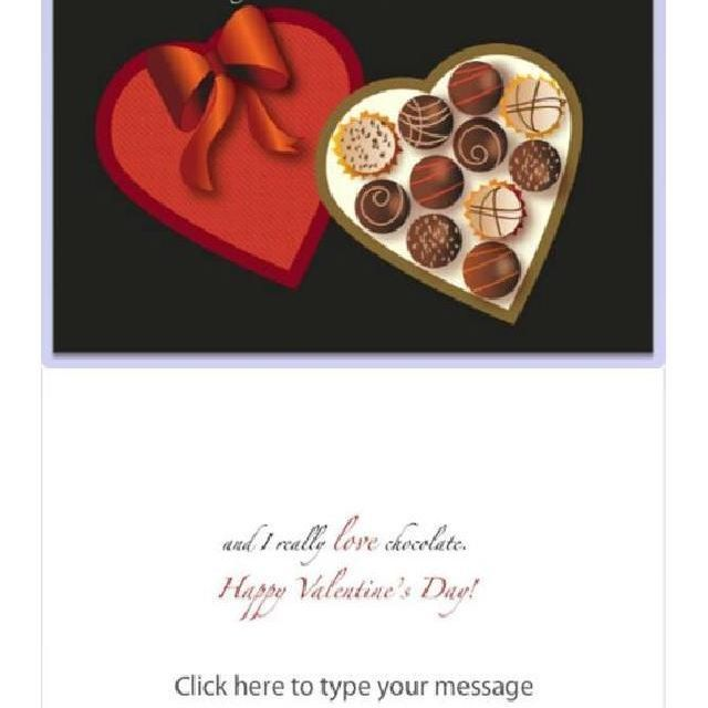"""Send a box of chocolates on Valentine's Day with this card. """"I love you more than chocolate… and I really love chocolate. Happy Valentine's Day"""" (Click here to type your message) #rhlelchuk, #lynnandrick #valentines #cards #greetingcards #kisses, #calories #sweetness #flowers #love #chocolate #passion #cupid #bemyvalentine #someonespecial  #someonecares #valentinescards"""