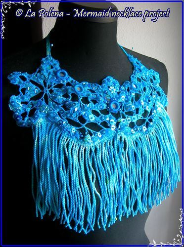 https://flic.kr/p/Qi1MZ4   Atlantide hand dyed lace necklace   Hand dyed vintage lace and trim. beaded sequined Azure blue necklace. Beaded crochet mirrors, assorted blue sequins and glass beads. Wearable Art.