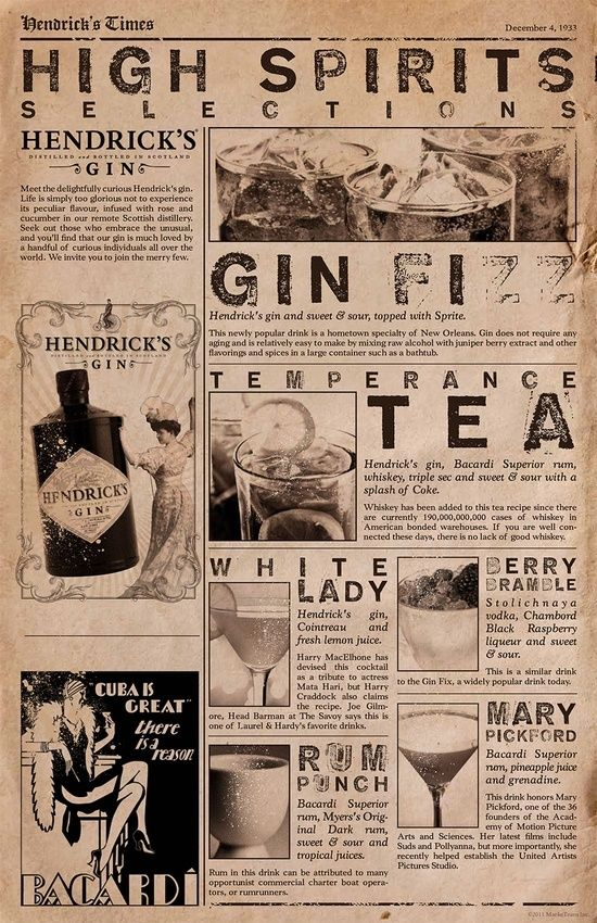 Create bar and cocktail menus to look like an old newspaper