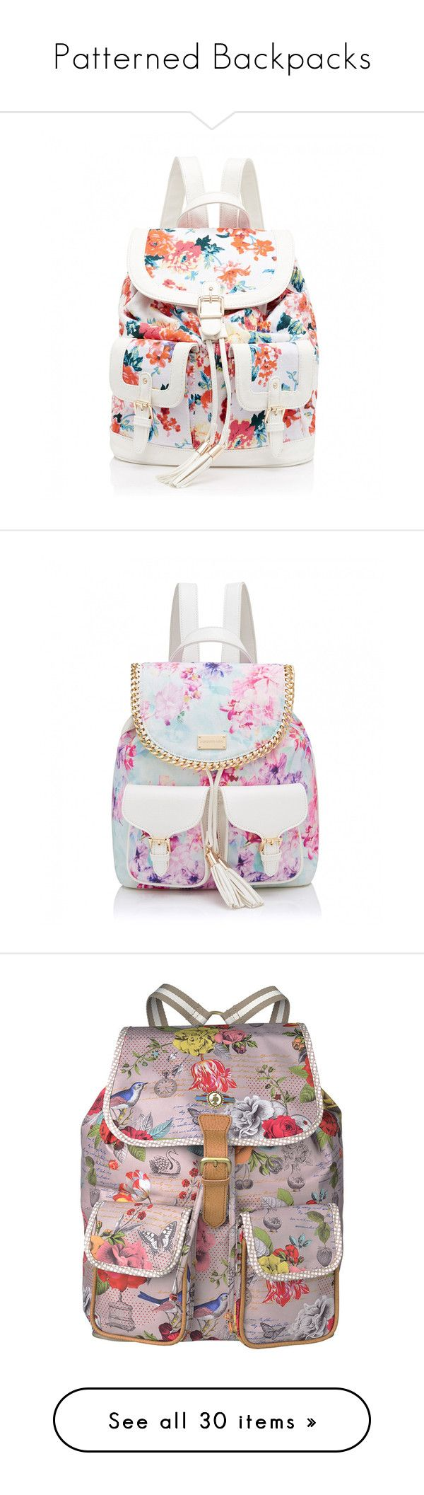 """Patterned Backpacks"" by girlwithherheadintheclouds ❤ liked on Polyvore featuring bags, backpacks, accessories, mochila, white floral print, white drawstring bag, white bag, rucksack bags, white floral backpack and white drawstring backpack"