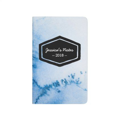 Blue watercolor personalized journal notebook - blue gifts style giftidea diy cyo