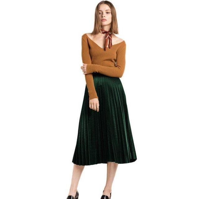 High Waist Women Skirts Summer Midi Skirt Fashion Pleated Wome Clothing